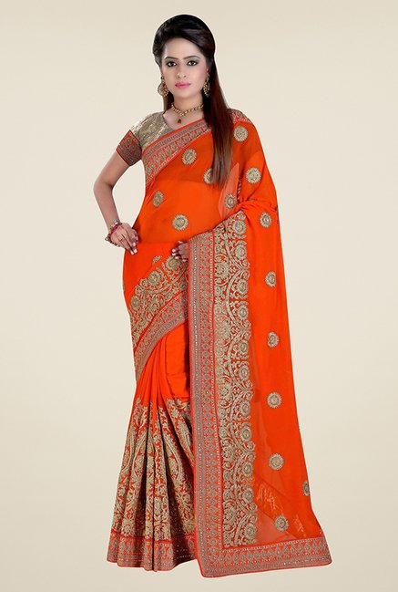 Triveni Marvelous Orange Faux Georgette Saree