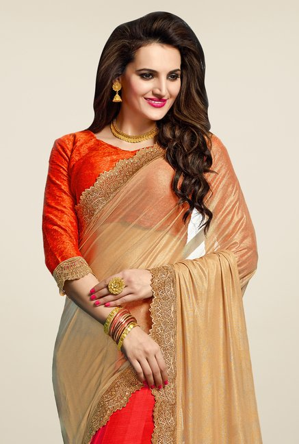 Triveni Pleasing Red & Beige Chiffon Saree