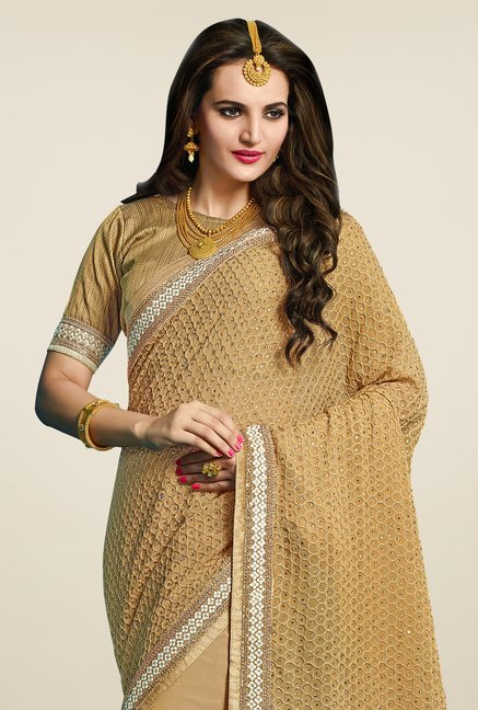 Triveni Lovely Beige Georgette Net Saree
