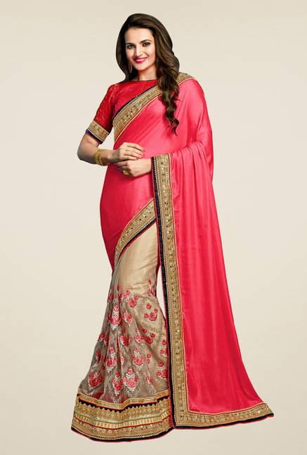 Triveni Appealing Beige & Coral Bamber Chiffon Saree