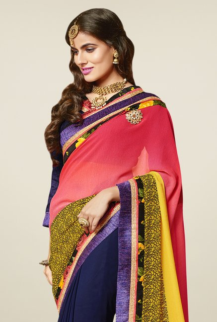 Triveni Picturesque Multicolor Faux Georgette Saree