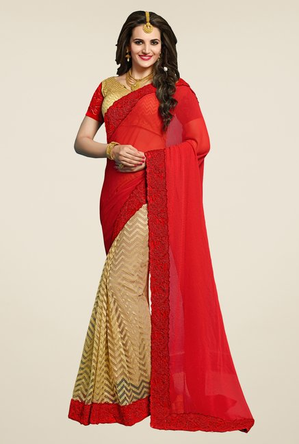Triveni Amusing Beige & Red Bamber Georgette Saree