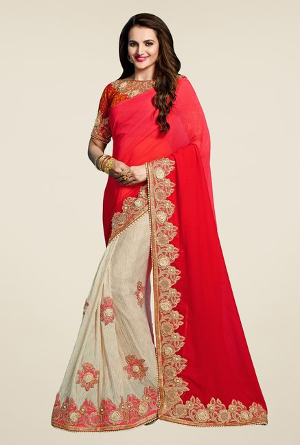 Triveni Fashionable Cream & Red Bamber Chiffon Saree