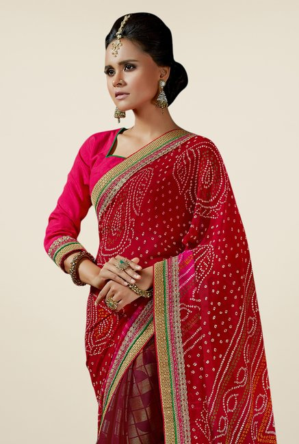 Triveni Amazing Multicolor Georgette Jacquard Saree