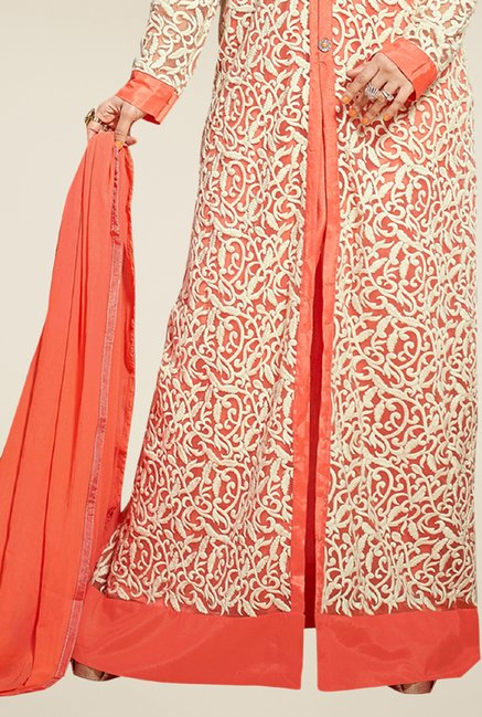 Triveni Admirable Peach & Off White Dress Material