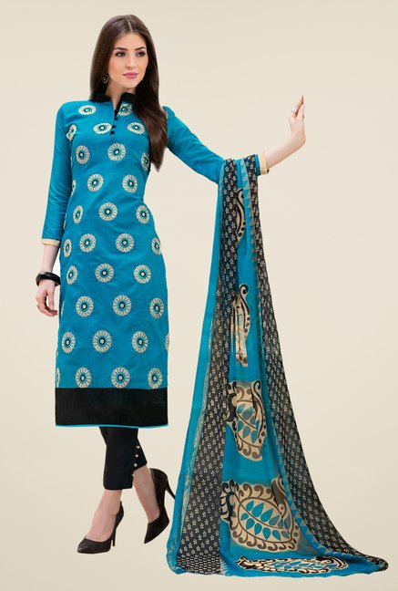 Triveni Amusing Blue & Black Chanderi Cotton Dress Material