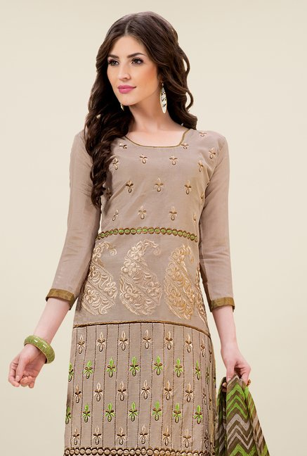 Triveni Fashionable Brown & Green Dress Material