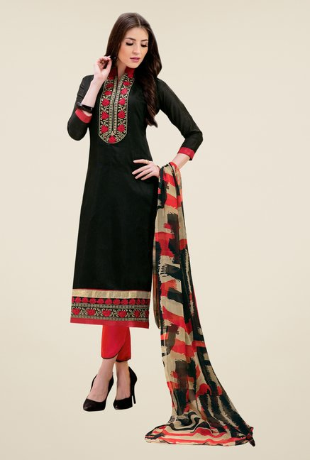Triveni Attractive Black & Pink Dress Material
