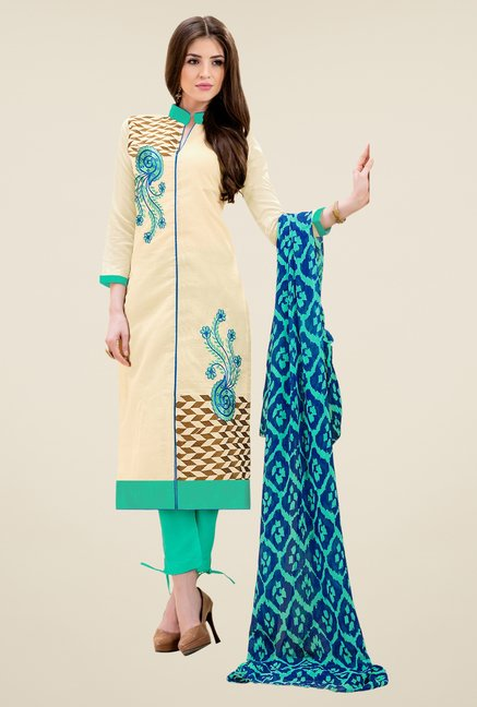 Triveni Good-looking Beige & Sea Green Dress Material