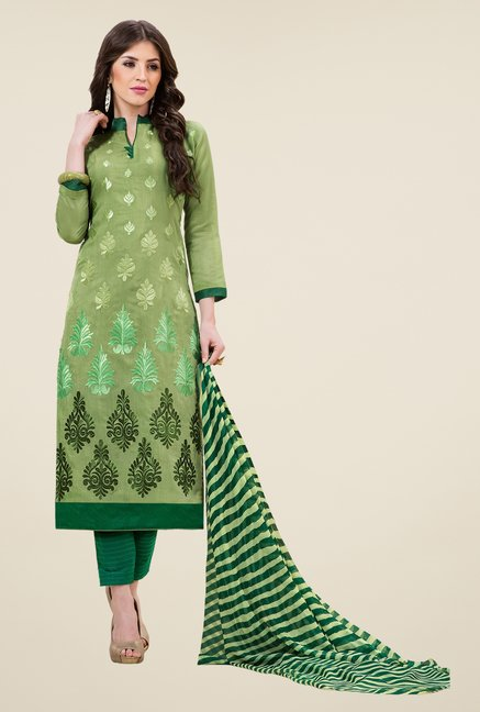 Triveni Scenic Green Chanderi Cotton Dress Material
