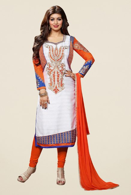 Triveni Amusing Off White & Orange Dress Material