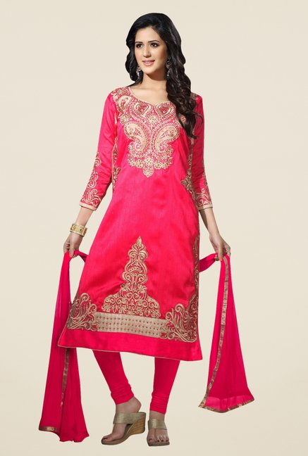 Triveni Chic Pink Bhagalpuri Silk Dress Material