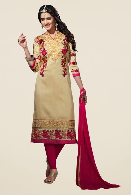 Triveni Fashionable Beige & Magenta Dress Material