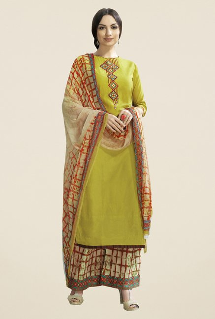 Triveni Striking Green & Beige Satin Cotton Dress Material