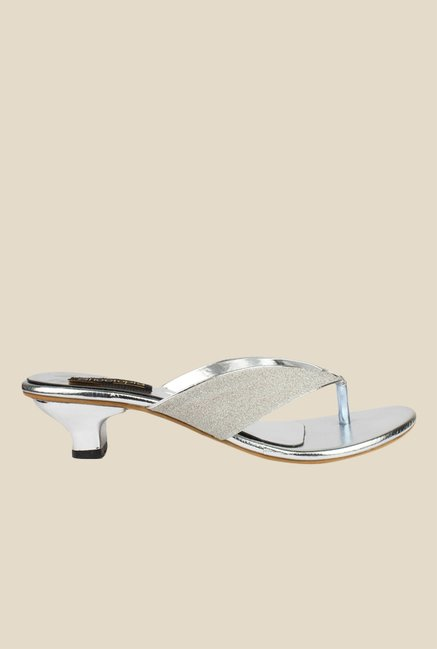 Shoetopia Silver Thong Sandals