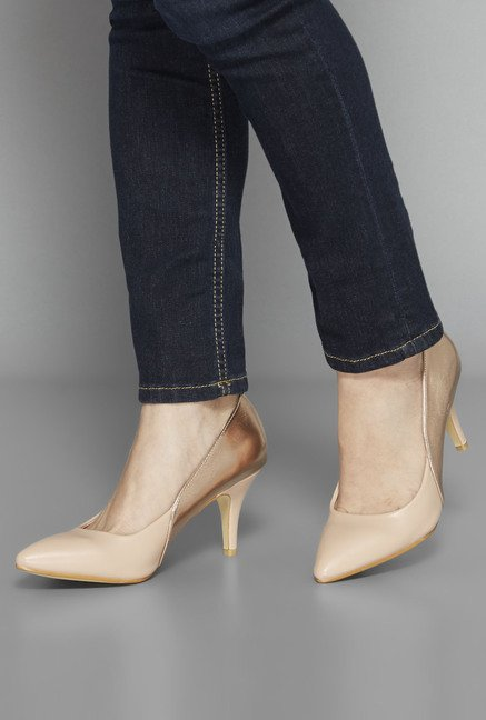 Head Over Heels by Westside Beige Cone Pumps