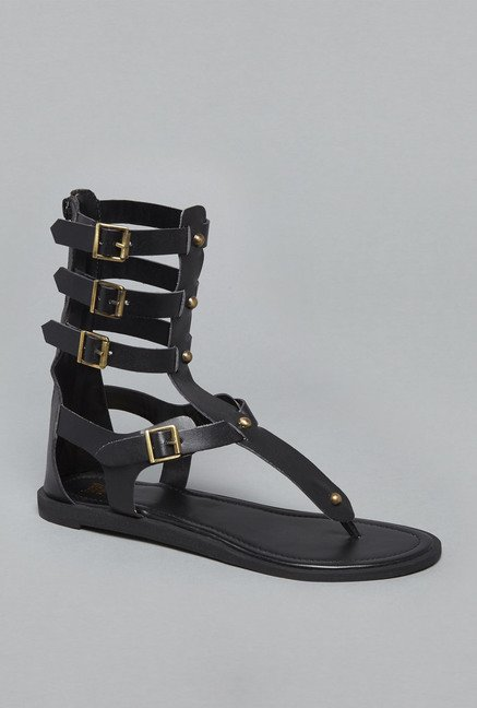 Head Over Heels by Westside Black Gladiator Sandals