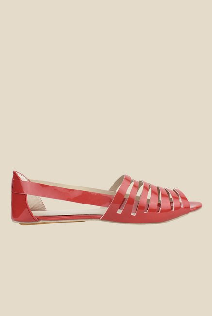 Shoetopia Red Flat Sandals