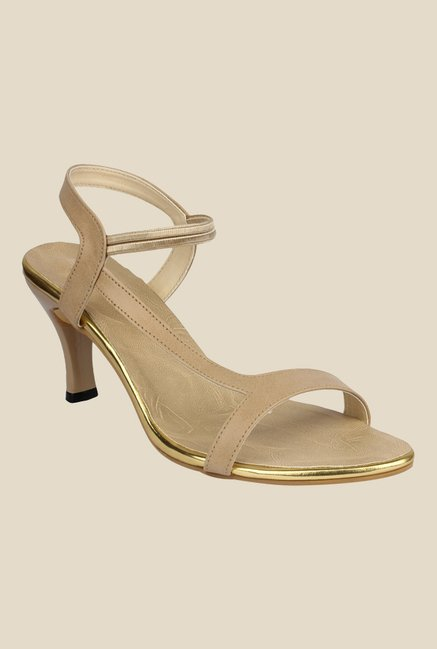 Shoetopia Beige Sling Back Stilettos