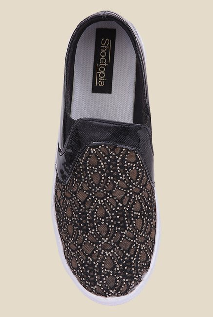 Shoetopia Golden & Black Slip-Ons