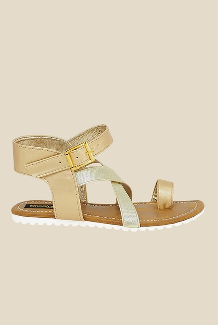 Shoetopia Golden Ankle Strap Sandals