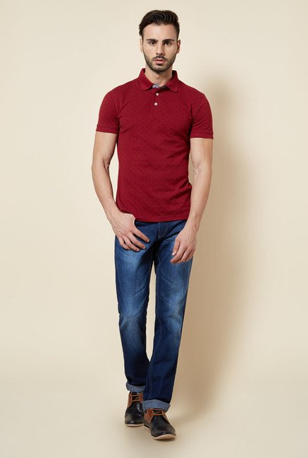 Zudio Maroon Printed Polo T Shirt
