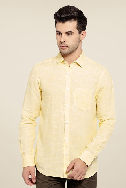 ColorPlus Yellow Textured Linen Shirt