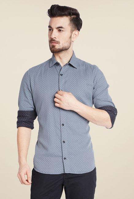 Parx Grey & Navy Printed Shirt