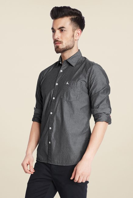 Parx Dark Grey Printed Shirt