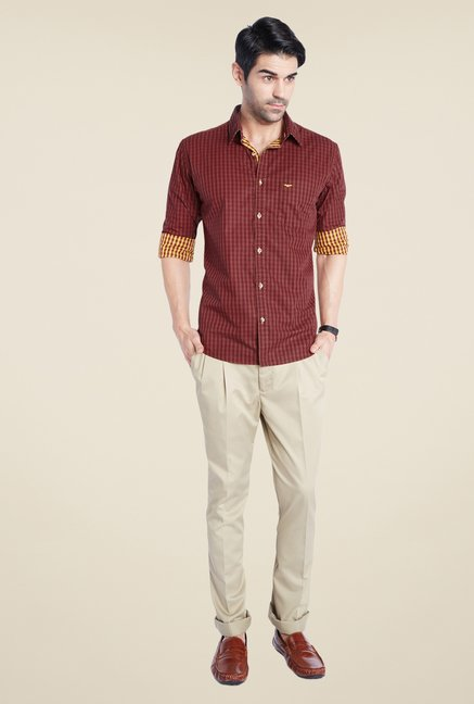 Park Avenue Maroon Checks Shirt