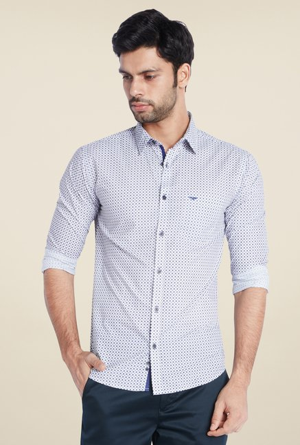 Park Avenue White Printed Shirt