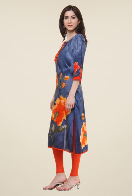 Shree Blue Floral Print Kurta