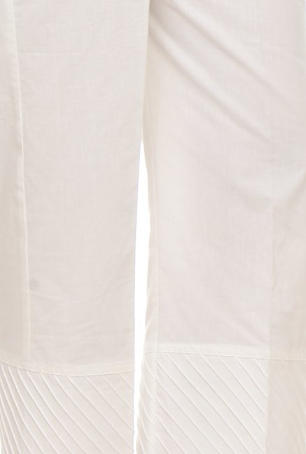 9rasa White Solid Pants
