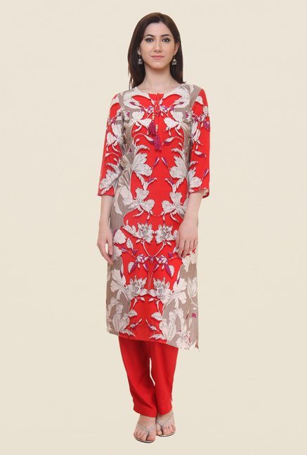 Shree Red Floral Print Kurta