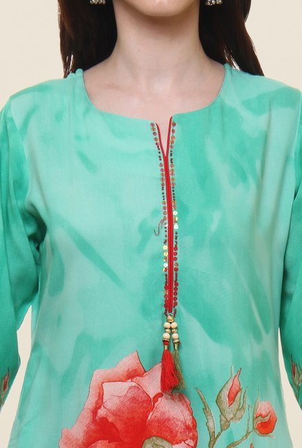 Shree Green Floral Print Kurta