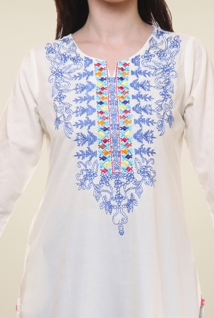 Shree Beige Embroidered Kurti