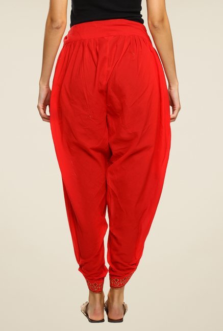 9rasa Red Solid Dhoti Pants