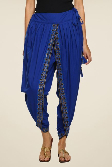 9rasa Blue Solid Dhoti Pants