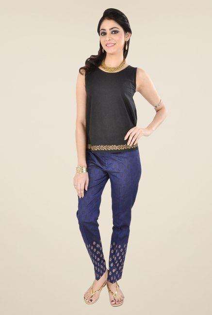 9rasa Navy Printed Pants