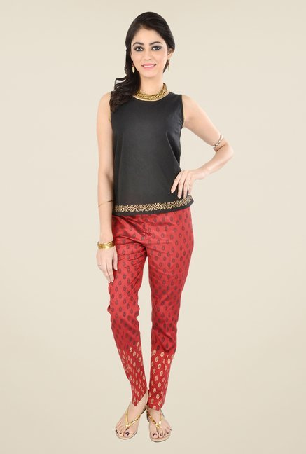 9rasa Red Printed Pants