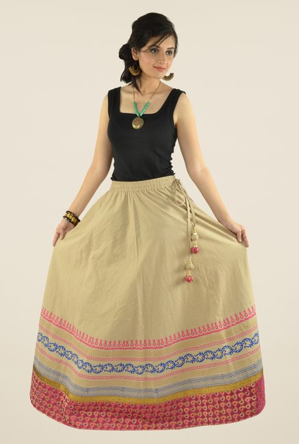 9rasa Beige Printed Flared Skirt