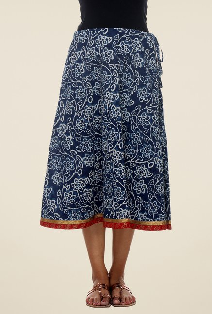 9rasa Navy Floral Skirt