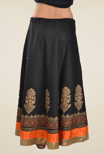 9rasa Black Printed A Line Skirt