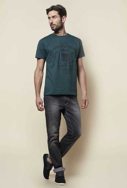 Zudio Dark Green Printed T Shirt