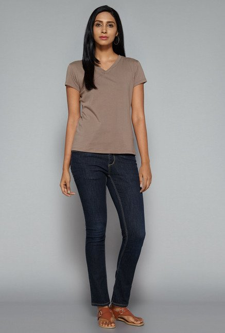 LOV by Westside Taupe Jane T Shirt