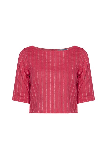 Bombay Paisley by Westside Coral Striped Crop Top
