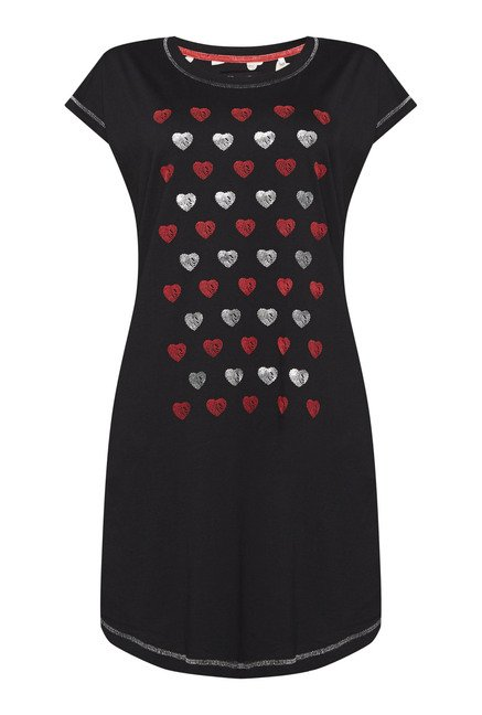 Intima by Westside Black Heart Print Nightdress
