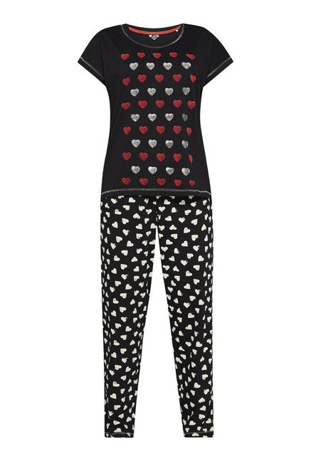 Intima by Westside Black Heart Print Pyjama Set