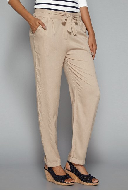 LOV by Westside Beige Claudia Trouser