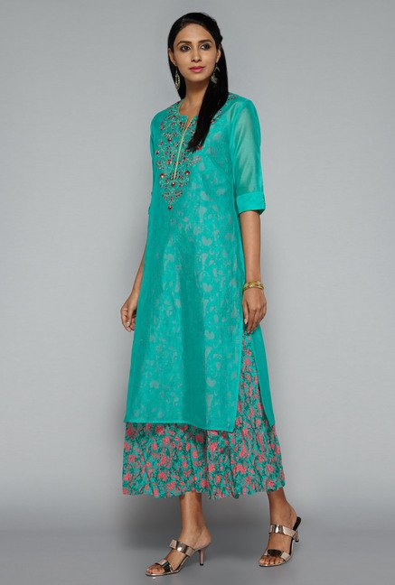 Vark by Westside Green Embroidered Suit Set